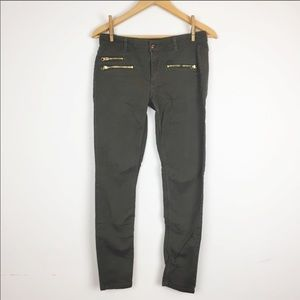 H&M Olive Skinny Stretch Pant w/Gold Zipper 8